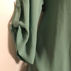 New York & Company Tops - Mint Green Zipper Faux Wrap Shirt Long Sleeve